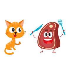 funny red cat kitten character steak holding vector image