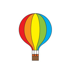 Hot air balloon rainbow colors icon vector