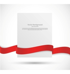 Paper banner with red ribbon vector image