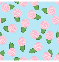 Colorful pattern of pink roses on turquoise vector image
