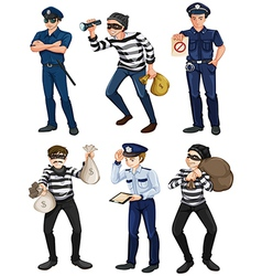 Police officers and robbers vector