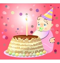 One birthday celebrate cake baby vector