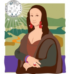 Mona lisa disco lady vector