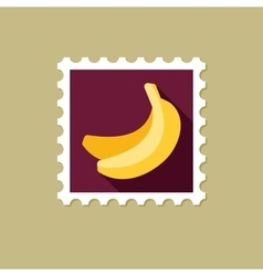 Banana flat stamp with long shadow vector