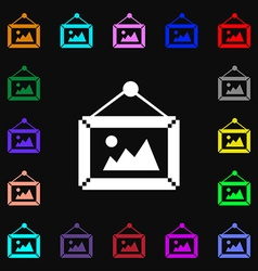 picture icon sign Lots of colorful symbols for vector image