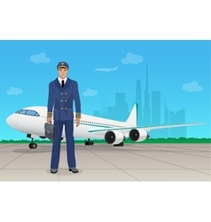 Pilot in uniform near airplane in airport vector