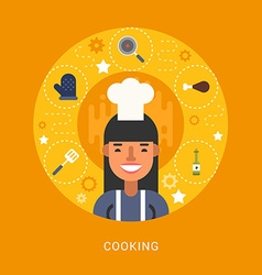 Food icons and objects in the shape of circle chef vector