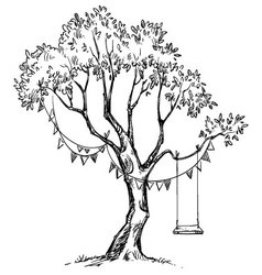 Tree and swing vector image