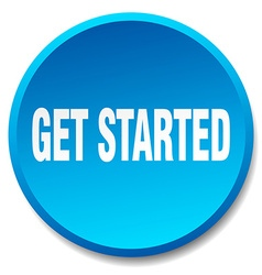 Get started blue round flat isolated push button vector