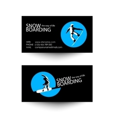 Snowboarding business card template vector