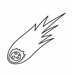 Falling meteor with long tail icon outline style vector