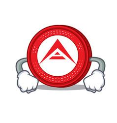 Angry ark coin mascot cartoon vector
