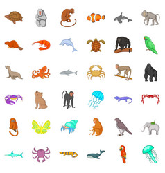 Animal in nature icons set cartoon style vector