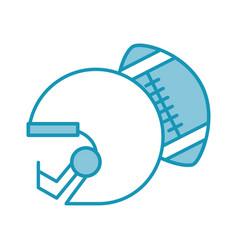 Blue football helmet and ball vector