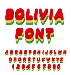 Bolivia font Bolivian flag on letters National vector image vector image