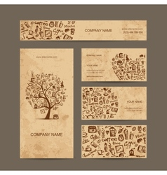 Business cards collection with coffee concept vector image