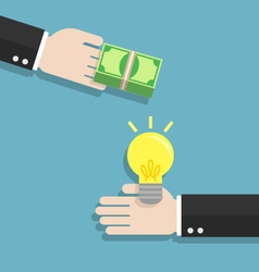Businessman hand exchanging idea and money to each vector