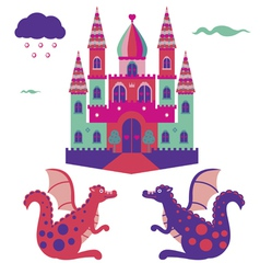 Castle and dragons vector