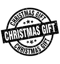 Christmas gift round grunge black stamp vector
