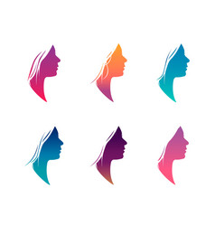 Colorful female silhouette set isolated on white vector