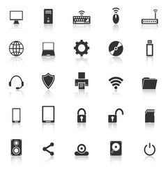 Computer icons with reflect on white background vector image