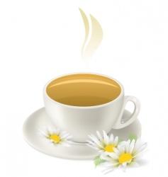 Cup of hot herbal tea vector