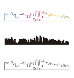 Doha skyline linear style with rainbow vector image vector image