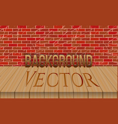 Empty wood table top on brick wall background vector