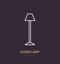Floor lamp torchere flat line icon home lighting vector