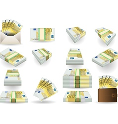 full set of two hundred euros banknotes vector image