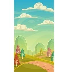 Funny cartoon nature landscape vector image