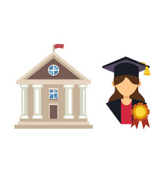 graduation woman silhouette uniform avatar vector image