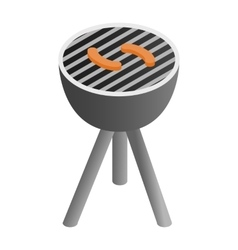 Grill sausages isometric 3d icon vector image