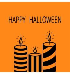 Happy halloween greeting card striped candle set vector