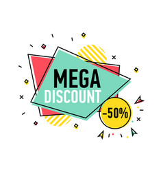 Mega discount sticker in trendy linear style vector