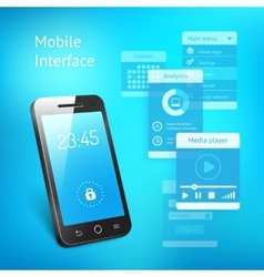 Mobile phone with elements for the user interface vector image vector image