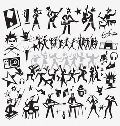 music dance icons vector image