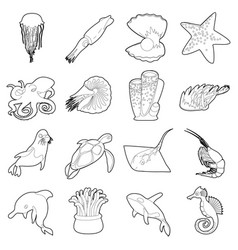 Ocean animals fauna icons set outline style vector