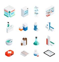 Pharmacy isometric icons set vector