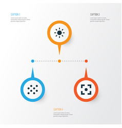 Photo icons set collection of round capture vector