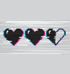 pixel art hearts for game vector image