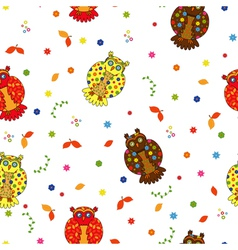 Seamless with various stylized owls vector image vector image