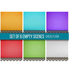 Set of 6 empty scenes chess floor vector