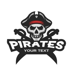 Skull pirates and swords Mascot logo vector image vector image