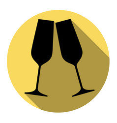 sparkling champagne glasses flat black vector image vector image