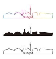 Stuttgart skyline linear style with rainbow vector