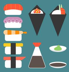 sushi icon set vector image