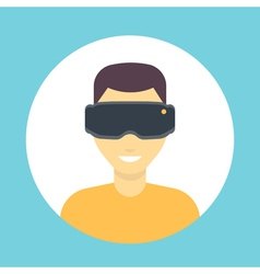 Vr glasses icon virtual reality headset man in vector