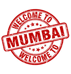 Welcome to mumbai red round vintage stamp vector