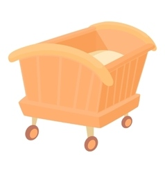 Wooden baby cot icon cartoon style vector